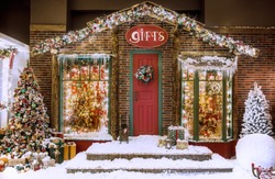 Christmas studio decorations an illuminated giftshop with beautiful presets, Christmas trees a snowball