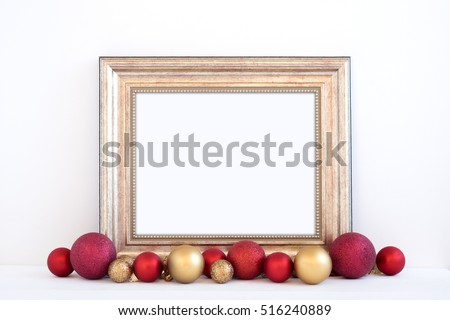 Christmas styled mockup landscape frame, with red and gold baubles, overlay your business message, promotion, headline, or design, great for lifestyle bloggers and social media campaigns