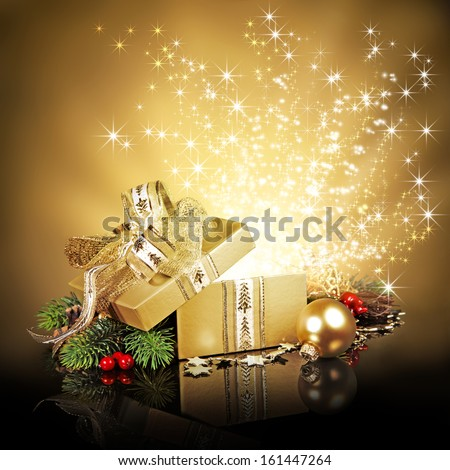 Christmas surprise gift box, exploding with glitters and stars