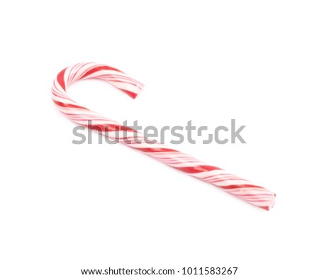 Christmas sweet candy cane isolated over the white background #1011583267