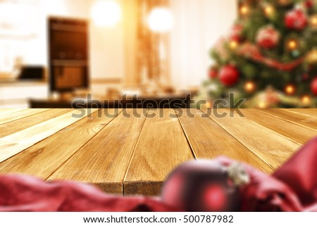 christmas table and xmas tree in kitchen