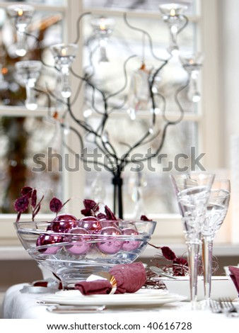 Christmas Table Decoration. Ball In The Glass Bowl. Stock Photo ...