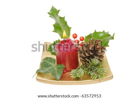 Christmas Table Decoration Of Holly, Ivy, Pine Needles And A Pine Cone ...