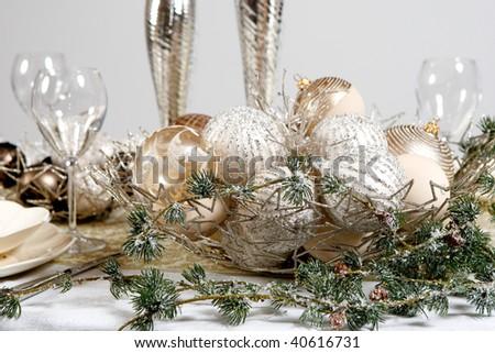 Christmas table decoration on white. Ball, glass.