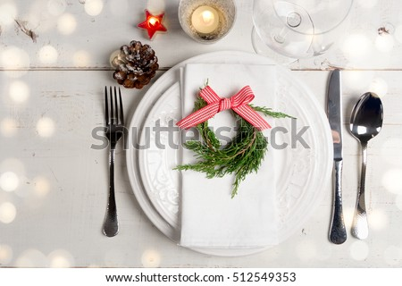 ... Christmas table place setting with candles a little wreath and lights bokeh effect ... & iconswebsite.com icons website Search over +6500000 icons  icon ...