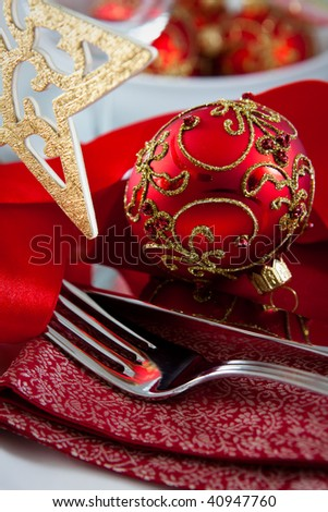 Christmas Table Decorations on Christmas Table Setting Stock Photo 40947760   Shutterstock