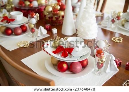 christmas table setting, new year table setting