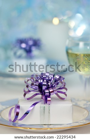 Christmas table setting with blue tone