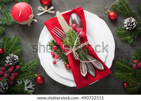 Christmas table setting with christmas decorations,. Top view, copyspace. #490722511