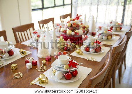 christmas table setting with ornament, new year table setting