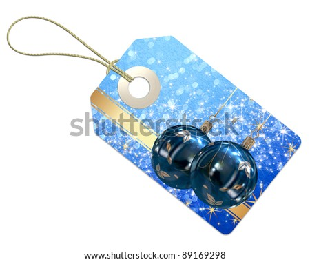 Christmas tag on a white background