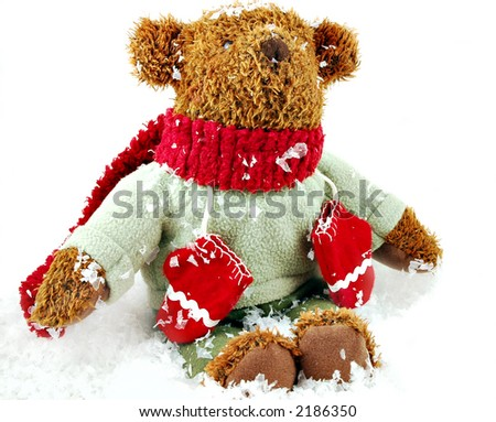 Christmas teddy bear on an isolated white background