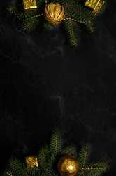 Christmas template for graphic design, Christmas tree with golden decorations on black background