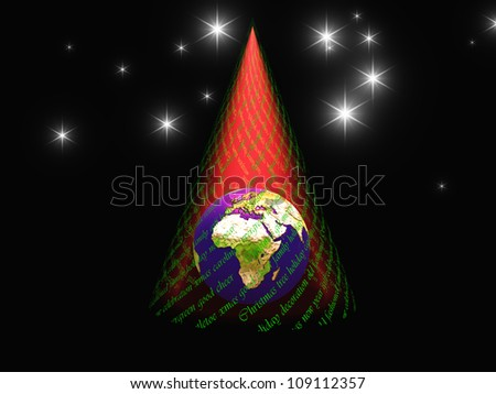 Christmas text and light in form of tree reveals earth with africa facing viewer