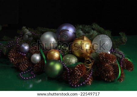 Christmas theme - Christmas decorations on a black background