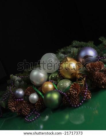 Christmas theme - Christmas decorations on black background
