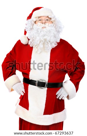 Christmas theme: happy Santa Claus. Isolated over white background.