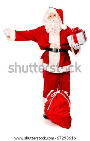 Christmas theme: Santa Claus with presents. Isolated over white background.