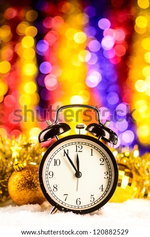 christmas time, clock on blurred background