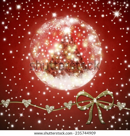 Christmas Time greeting card, a poinsettias Christmas tree  inside shiny ball  on a re background with stars