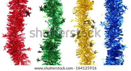 Christmas tinsel with stars collage. Whole background.
