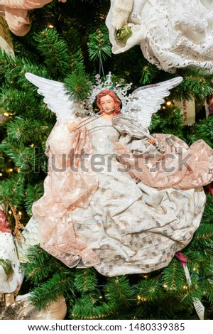 Christmas toy angel. Christmas tree decorations and decorations in the design.