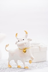Christmas toy Bull symbol of the new year 2021