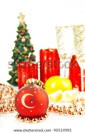Christmas toys and Christmas tree with candles