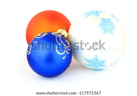 Christmas toys on the white isolate background