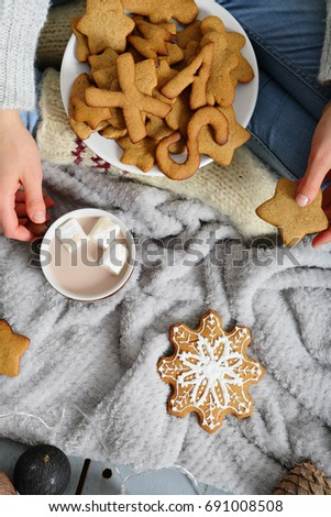 Christmas treats, gingerbread and cocoa #691008508