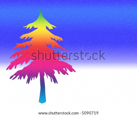 Christmas Tree - a colorful fir tree on a blue sky and white snowy background with snowflakes falling.