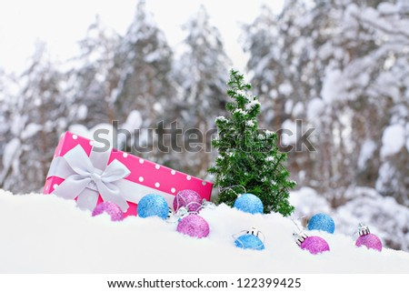Christmas tree and box on snow near the pine forest