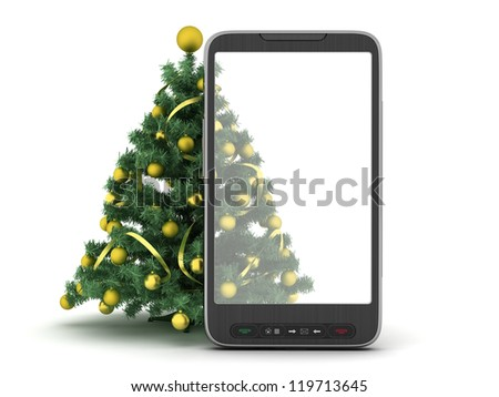Christmas tree and cell phone