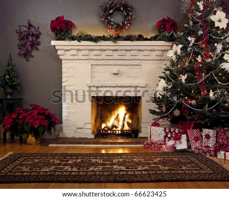 Christmas tree and fireplace background.