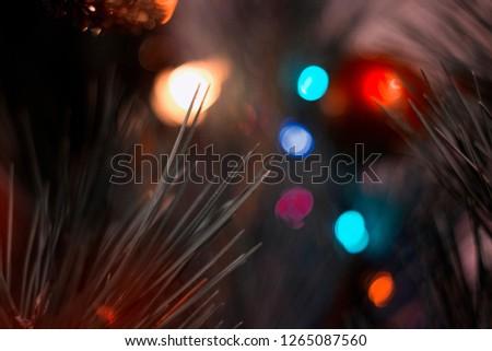 Christmas tree and garland  #1265087560