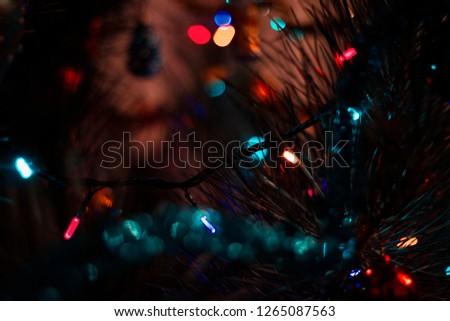 Christmas tree and garland  #1265087563