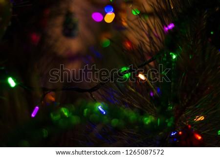 Christmas tree and garland  #1265087572