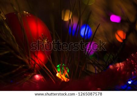 Christmas tree and garland  #1265087578