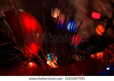 Christmas tree and garland  #1265087581