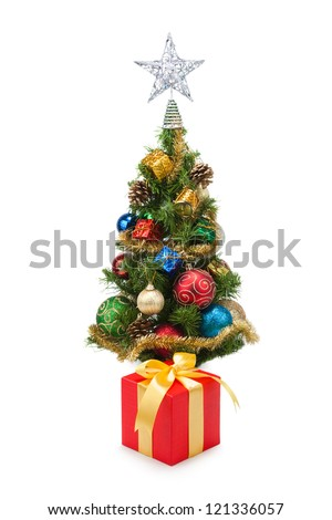 Christmas tree and gift boxes on a white background #121336057