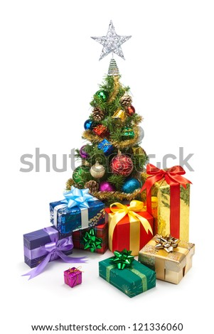 Christmas tree and gift boxes on a white background - stock photo