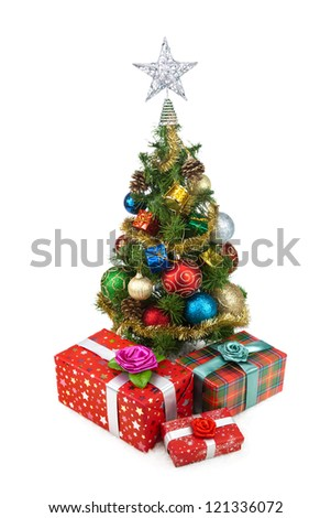 Christmas tree and gift boxes on a white background #121336072