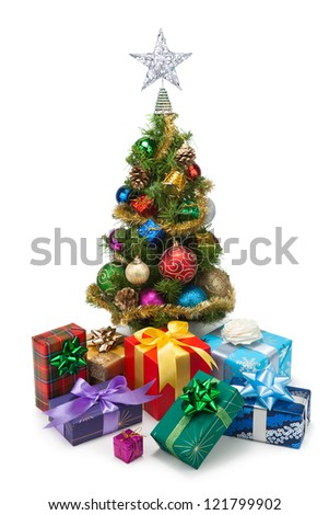Christmas tree and gift boxes on a white background