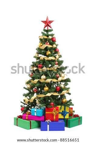 Christmas tree and gifts.Isolated on white.