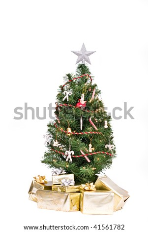 Christmas Tree and gifts isolated over white background