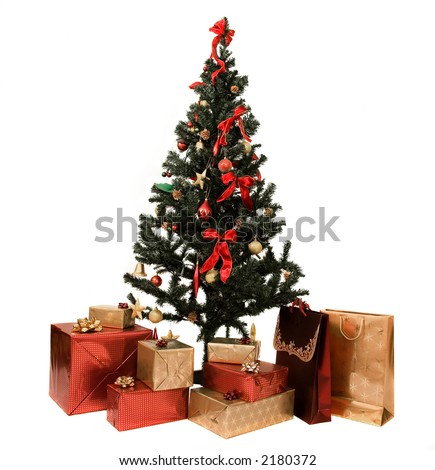 christmas tree and gifts over a white background
