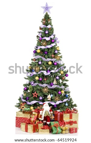 Christmas Tree and Gifts. Over white background #64519924