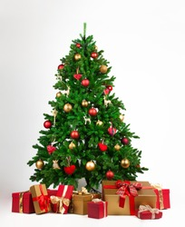 Christmas tree and many present boxes