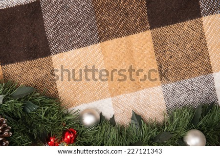 Christmas  tree and New Year toys  and decoration like  fir branches on spread with  top view  and  copy place