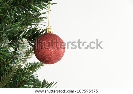 Christmas Tree and Ornament on White Background